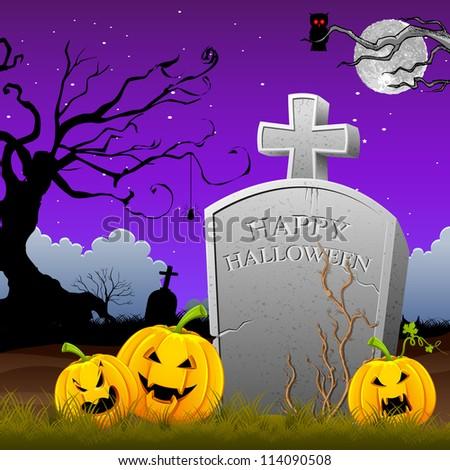 illustration of pumpkin around tomb stone in Halloween night - stock vector
