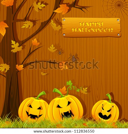 illustration of pumpkin carved for Halloween under autumn tree