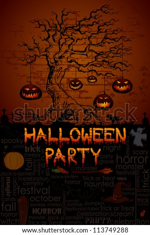 illustration of pumpkin hanging from tree in Halloween night - stock vector