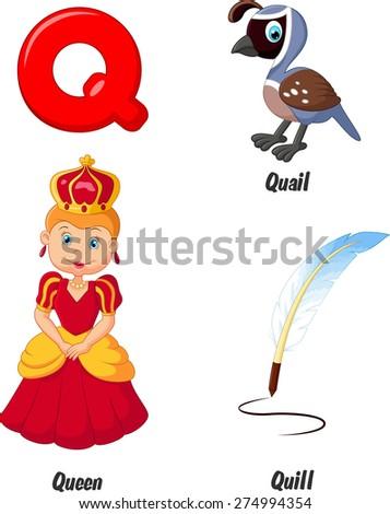 Illustration of Q alphabet - stock vector