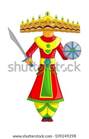 illustration of Raavana with ten heads for Dussehra