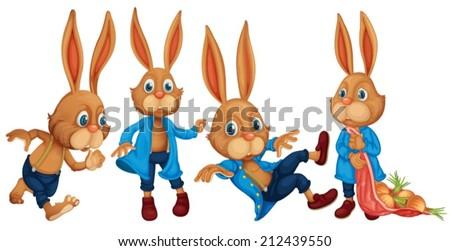 Illustration of rabbit set  - stock vector