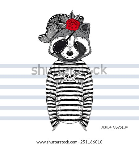 illustration of raccoon pirate - stock vector