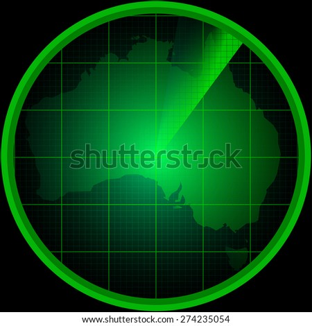Illustration of radar screen with a silhouette of Australia - stock vector