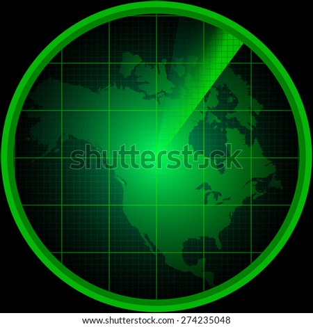 Illustration of radar screen with a silhouette of North America - stock vector