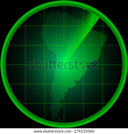 Illustration of radar screen with a silhouette of South America - stock vector