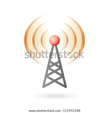 Illustration of radio antenna mast with signals on air - stock vector