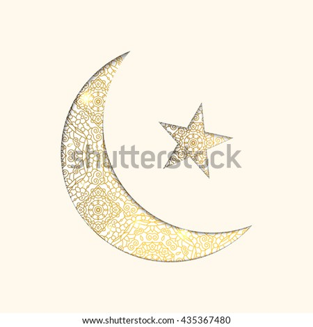 Illustration of Ramadan Kareem. Gold shiny ornamental moon and star on white background.