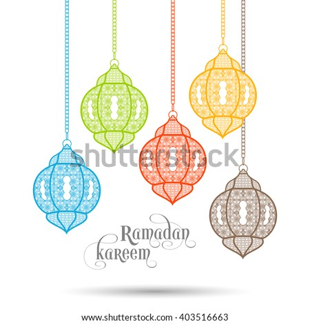 Illustration of Ramadan Kareem with intricate Arabic lamps and calligraphy for the celebration of Muslim community festival.