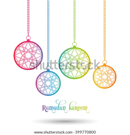 Illustration of Ramadan Kareem with intricate Arabic lamps for the celebration of Muslim community festival.