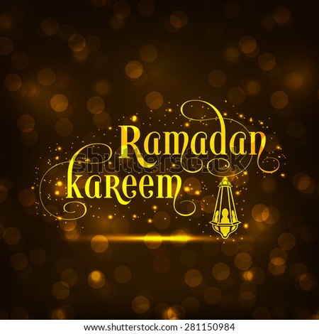 Illustration of Ramadan Kareem with intricate calligraphy and Arabic lamp for the celebration of Muslim community festival. - stock vector