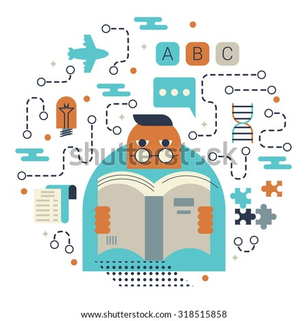 Illustration of reading and knowledge concept with icons - stock vector