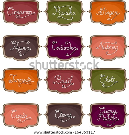 Illustration of Ready to Print Labels Featuring the Names of Different Herbs and Spices