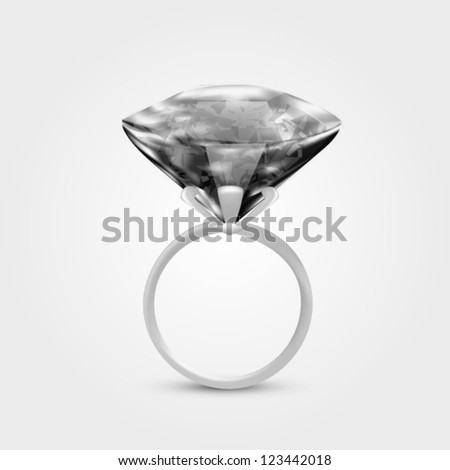 Illustration of realistic black diamond ring - stock vector