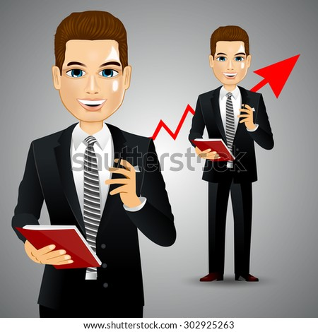 illustration of realistic businessman standing with business diary and ball pen