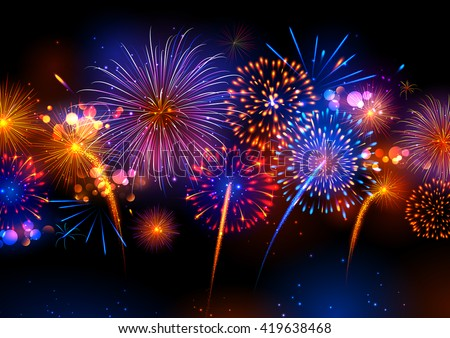 illustration of Realistic colorful Fireworks - stock vector