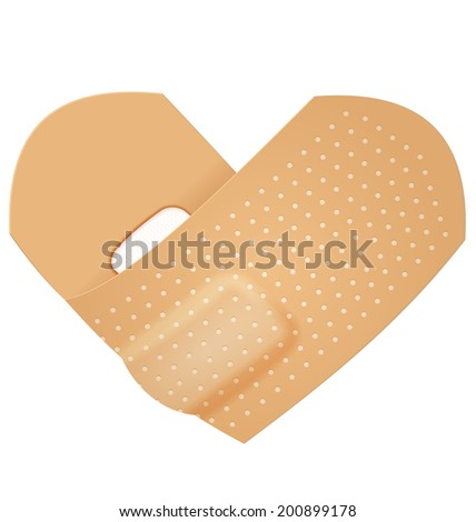 Illustration of realistic first aid band folded as heart shape. First aid plaster realistic 3d illustration isolated   - stock vector