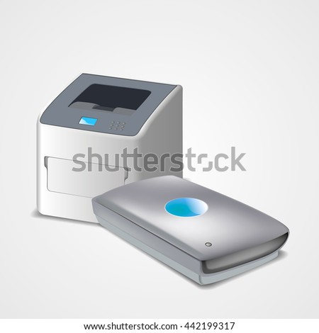 Illustration of realistic scanner and printer