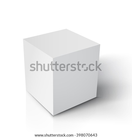 Illustration of Realistic Vector Cube. Vector Paper White Cube Isolated on White Background