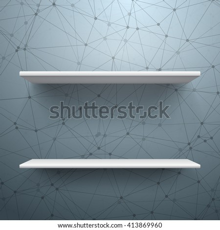 Illustration of Realistic Vector Shelf. EPS10 Empty Shelf for Store, Exhibitions, Shows. Vector Shelf on Wall. Realistic Shelf on Wireframe Technology Connection Background - stock vector