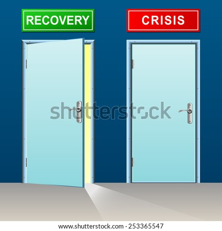 illustration of recovery and crisis doors concept