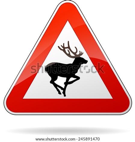 illustration of rectangle warning sign for deer - stock vector