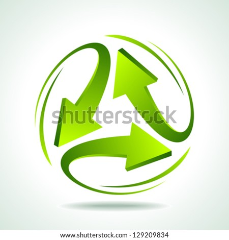 illustration of recycle arrow on isolated background - stock vector
