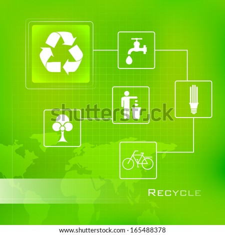 illustration of Recycle Background with sign and symbol - stock vector