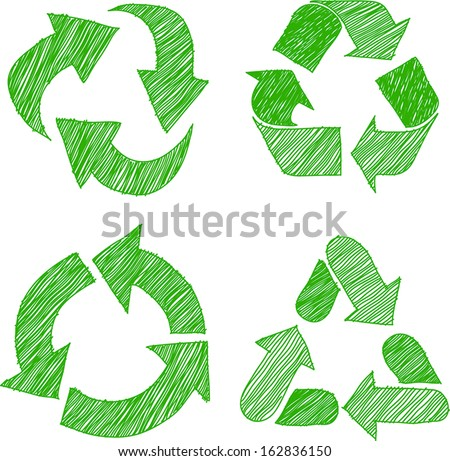 Illustration of recycle doodle icons  sketch vector  - stock vector