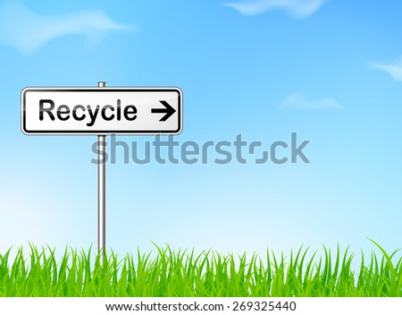 illustration of recycle sign on nature background