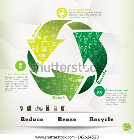 Illustration of Recycle Symbol and Eco Icons with Reduce Reuse Recycle Concept - stock vector