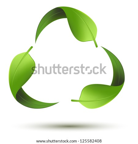 illustration of recycle symbol with leaf on isolated background - stock vector