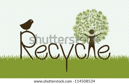 illustration of recycling, tree formed by a person silhouette, vector illustration - stock vector