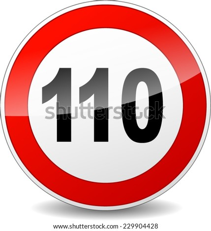 illustration of red and black speed limit sign - stock vector