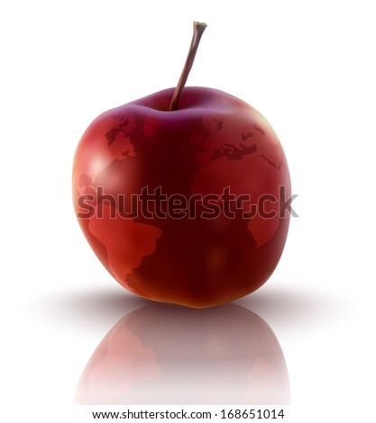 illustration of red apple with planet earth - vector illustration - stock vector