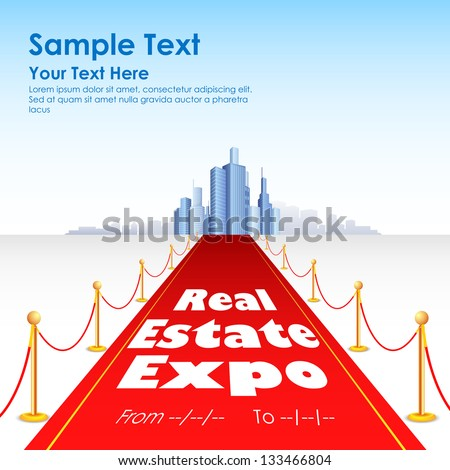 illustration of red carpet for building and skyscraper - stock vector