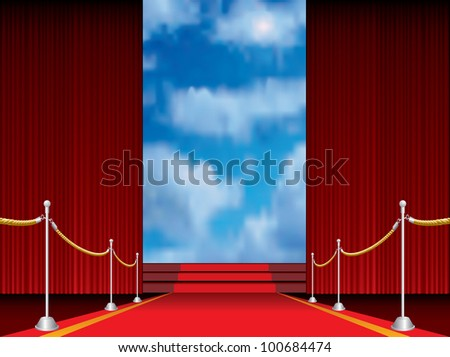 illustration of red carpet with stairs to heaven - stock vector