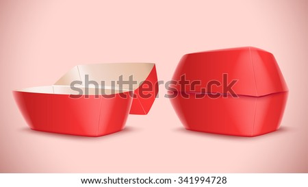 illustration of red color hamburger box opened and closed on bright background - stock vector
