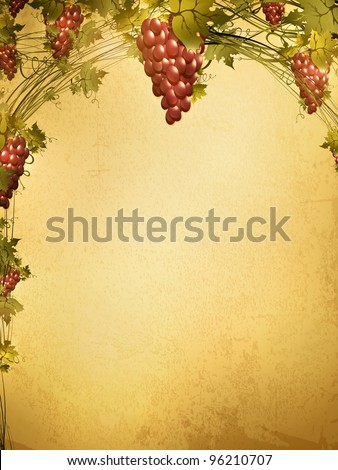 Illustration of red grape vine frame at grunge background with copyspace for your text - stock vector