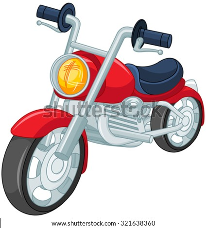 Illustration of red motorcycle - stock vector
