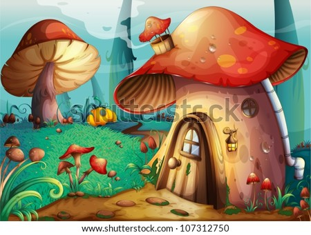 illustration of red mushroom house on a blue - stock vector