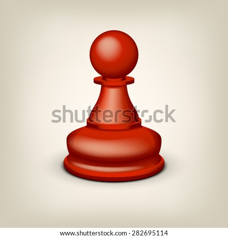 illustration of red pawn on grey background - stock vector