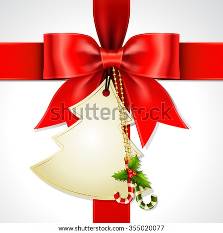 Illustration of red ribbon bow vector with Christmas tag card