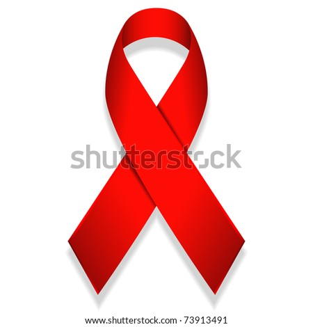 illustration of red ribbon isolated on white background - stock vector