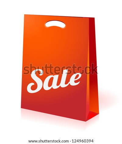 illustration of red sale shopping bag - stock vector
