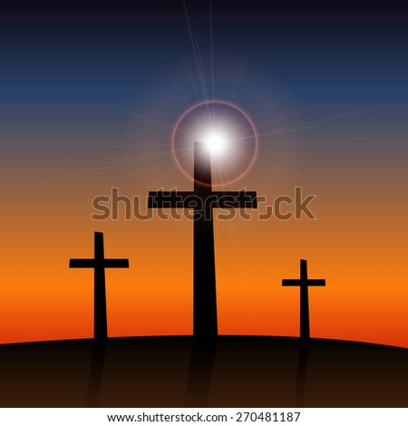 Illustration of 3 religious crosses against a colorful sky background.