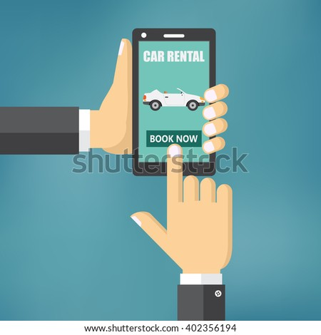 Illustration of renting a car with a mobile device.