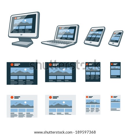 Illustration of responsive website design on different screen devices with smartphone, laptop, monitor screen, tablet  - stock vector