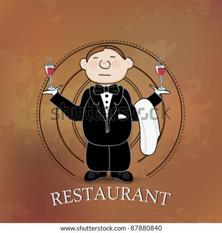 Illustration of restaurant sign with cartoon waiter on beige background - stock vector
