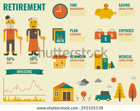 Illustration of retirement infographic with old people and icon elements - stock vector